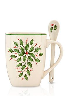 Here's a holiday idea for you: Grab some cozy throw blankets, gather around the fire with the family, and enjoy a tasty cup of hot chocolate (marshmallows optional) — Lenox exclusive holiday set of 2 cocoa mugs with spoons Christmas China, Christmas Dishes, Christmas Tea, Elegant Christmas, Christmas Ornaments, Porcelain Mugs, Ceramic Cups, Color Ivory, Christmas Dinnerware