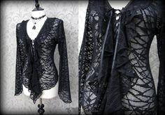 Romantic Gothic Black Cobweb Net Lace Up Ruffle Top 14 Dark Angel Victorian Vamp   THE WILTED ROSE GARDEN