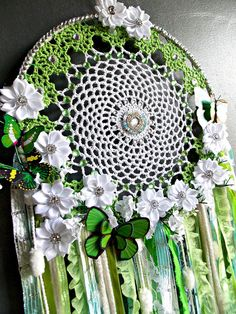 Lace Doily Dreamcatcher  Wall Art  Decor Item  Green and