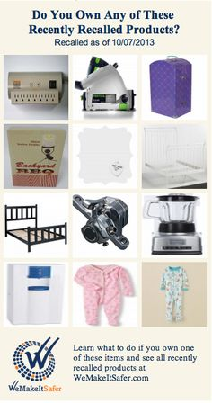 Recently recalled products, including bed frames, blenders, pajamas, surge protectors & more.