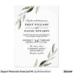 Elegant Watercolor Green Leaf Wedding Invite