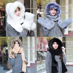 Women Ladies Faux Fur Fluffy Coral Velvet Hood Scarf Cap Gloves Warm Snood Pocket Hat