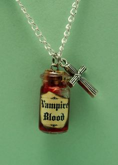 Glass Vial Necklace, Vampire Blood with Crucifix Charm