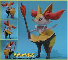 "654 / BRAIXEN - Pokémon Papercraft Name:  Braixen  Type:  Fire  Species:  Fox Pokémon  Height: 1.0 m (3 '03"")  Weight: 14.5 kg (32.0l..."