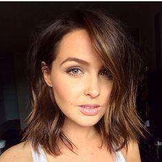 Camilla Luddington short blunt pretty hair and make up