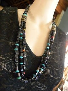 TOMMY-SINGER-TURQUOISE-ONYX-STERLING-SILVER-amp-12K-GOLD-NECKLACE-29-034-RIP-2014