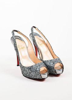 Christian Louboutin Silver No. Prive Glitter Slingback Peep Toe Pumps