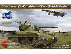 The Bronco British M22 Locust (T9E1) Airborne Tank Model Kit in 1/35 scale from the plastic tank model kits range accurately recreates the real life US-made light tank from World War II, in British service. This Bronco tank model requires paint and glue to complete.