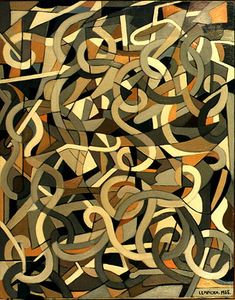1955, Tamara de Lempicka: Abstract Composition with Swirls (Composition abstraite aux tourbillons). Oil on canvas 50,8 x 40,6 cm (20 x 16 in). Collections: 1980 - Lempicka Estate - U.S.A.