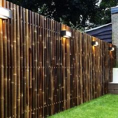 outdoor-design-and-bamboo-fence-panels-for-bamboo-fencing-with-garden-lighting-also-lawn-and-box-planters-with-brick-exterior-siding-plus-window-treatment-and-diy-bamboo-fence . backyard decor ideas design diy ideas ideas for dogs Outdoor Privacy, Backyard Privacy, Privacy Fences, Backyard Fences, Privacy Screens, Fence Landscaping, Outdoor Curtains, Outdoor Pallet, Pool Fence