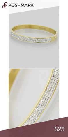 Stainless steel gold plated triple row bangle Three Row Crystal Pave Stainless Steel Bangle Bracelet Model no# : 91504 Color : GOLD-CLEAR Size : Diameter:2.25inch Gorgeous. Can be worn alone or stacked with a beautiful watch. Better quality than the brand your fave ig makeup guru endorses ;) pride myself in these gorgeous pieces. After checking out the competition, make sure you come back and snag before it's gone 😍.               PRICING IS FIRM AND TEMPORARY. LOOKING FOR AWESOME FEEDBACK…