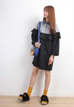 Fake+2-Layer+Shirt+Mixed+Oversized+Sweat+Dress