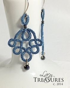 Beaded dangle Earrings . Lace handmade . Color by LacyTreasures, $30.00