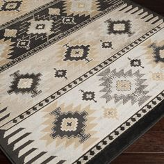 Meticulously Woven Black Grey Southwestern Aztec Nomad Area Rug 79 X 112 Polypropylene Geometric