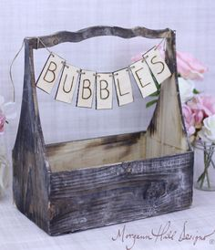 Really cute idea, would just buy the box and do myself rather than pay $45.-Rustic Basket With Bubbles Banner Sign Country by braggingbags, $45.00