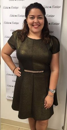 Plus Size Sparkle Dress in Gold