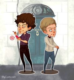Sherlock and John chibi