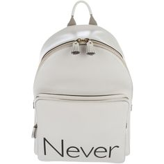 Pre-owned Anya Hindmarch Never Leather Backpack ($625) ❤ liked on Polyvore featuring bags, backpacks, white, zipper bag, anya hindmarch, leather zipper backpack, leather backpack and white leather backpacks
