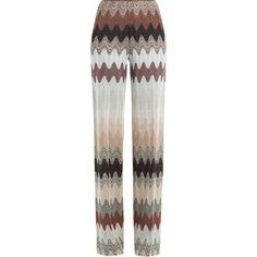 Missoni Wide Leg Crochet Knit Pants (€820) ❤ liked on Polyvore featuring pants, multicolor, crochet pants, colorful pants, white trousers, elastic waist pants and slim pants