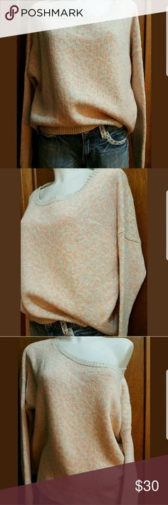 Free People soft peach cheetah sweater sz S flirty Free people for anthropologie women's sweater size S. Beautiful marbled beige and peach cheetah print. Deep scoop neck collar, can be worn off one shoulder. Oversized. Thicker knit. 71% Cotton, 12% Alpaca, 9% Nylon, 8% Wool blend. Awesome condition, no noticeable flaws or obvious signs of wear. Measurements are taken lying flat:   Bust (pit to pit): 28 inches  Sleeves: 20 inches  Length: 22 inches Free People Sweaters Crew & Scoop Necks