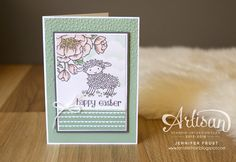handmade Easter card ..  Easter Lamb and Birthday Blooms ... pink and mint ... great deisgin ... from Papercraft by Jennifer Frost ...