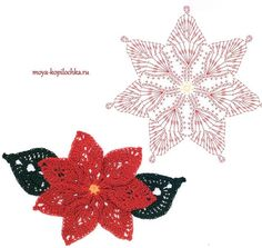 Crochet poinsettia (graph only)Crocheted flowers: 100 floral motifs to crochet schemes [in Russian]Irish lace, crochet, crochet patterns, clothing and decorations for the house, crocheted.narisi kvačkanih rožic in listkovLooks like poinsetia Crochet Diagram, Crochet Chart, Thread Crochet, Crochet Motif, Irish Crochet, Crochet Doilies, Crochet Stitches, Crochet Christmas Decorations, Christmas Crochet Patterns