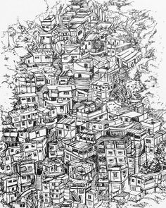 Work in progress....I've been doodling a lot of cities and sky lines this is of the #favelas of #riodejaneiro #rio #poverty #illustration #art #drawing