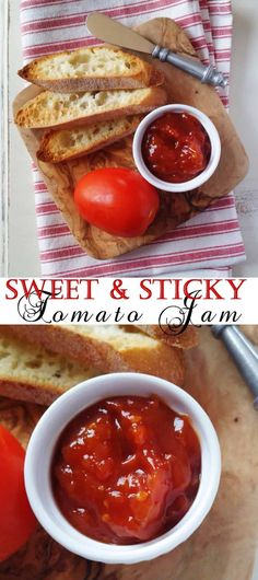 The perfect barbeque condiment - this sweet and sticky tomato jam will be everyone's favourite! Jelly Recipes, Jam Recipes, Canning Recipes, Sauce Recipes, Vegetable Recipes, Delicious Recipes, Sauces, Tomato Jam, Tomato Jelly