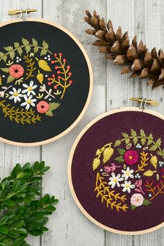 Floral and nature based Embroidery Work by Cristin Morgan of Marigold + Mars