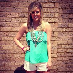 Mint ruffle tube top $40  with Akola Project necklace  #akolaproject #denimcutoffs