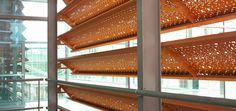 Sheet metal cladding / aluminum / printed / perforated - LYNGDAL SECONDARY SCHOOL by Asplan Viak - RMIG
