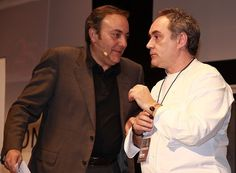 Ferran Adrià  and Pepe Barrena on stage at Madrid Fusión 2009. Photo by Gerry Dawes©2013. Contact gerrydawes@aol.com for publication rights.