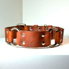 """CRATUS 1.5"""" wide Leather Dog Collar  Handmade Simple and Elegant  Perfect for Mastiff or Great Dane. $44.95, via Etsy."""