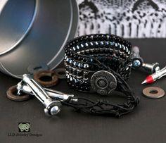 Steampunk Bracelet Goth Bracelet Black by LLDArtisticJewelry, $50.00