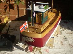 """9) """"Bodil"""" A scratchbuild Shetland bus Model boat. the hull has a slight  tumblehome form, which can be seen in this photo. Rudder,lower pintle and rudder skeg all in soldered brass."""