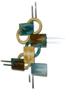 Desert Flower Geometric Turquoise and Brown Wall Sculpture w/ Metal