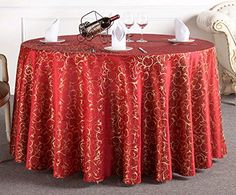 Uforme Tabletop Decor Woven Fabric Table Cloth Damask Pat...