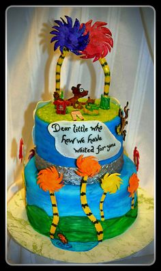 The lorax, Dr. Seuss baby shower cake by I'll Cake That