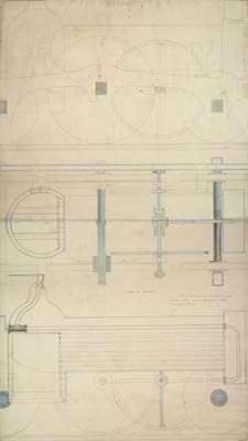 William Andrews, Detail of a steam turbine locomotive, with side elevation and vertical and longitudinal sections...