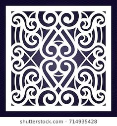 Ornamental swirl panel for cutting. May be use for laser cutting. Living Room Partition, Stencils, Stencil Wood, Engraving Art, Metal Panels, Square Card, Mandala Tattoo, Lettering Design, Cool Patterns
