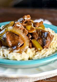 Beef Tips and Rice ~ https://FlavorMosaic.com