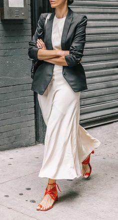 street style. black blazer. midi dress. red sandals.