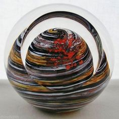 SIGNED Mind Blowing GLASS EYE STUDIO Paperweight PLANET Metallic SPARKS in BOX