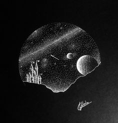 White ink space/universe/stars drawing Hi everyone, I am so happy to present my latest white ink desing with a space castle. how you like this drawing made with dotwork/pointillism 😉 Created by Circle Drawing, Circle Art, Black And White Sketches, Black And White Painting, Circle Tattoos, Triangle Tattoos, Black Canvas Paintings, Black Paper Drawing, Ink Doodles