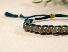 Labradorite and Silk Woven Friendship Bracelet by CatMHorn on Etsy, $39.00