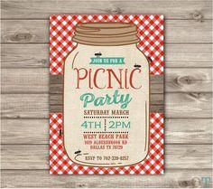 Picnic Park Party Mason Jar Beach Bbq Family reunion Birthday invitations gingham ants Burlap Rustic Wood Summer Shabby Chic boho picnic