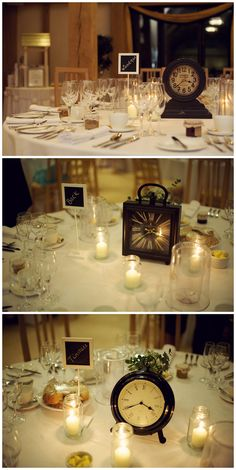 Wedding Table Decorations, Vintage Clocks, December Wedding, New Years Wedding, The Old Kent Barn Weddings, Jenny Packham, Kent, Louboutin, Rebecca Douglas Photography