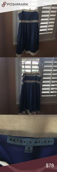 Antonio Melani blue and cream dress.  Size 6. Very classy blue/cream dress from Antonio Melani.  Size 6. ANTONIO MELANI Dresses Midi