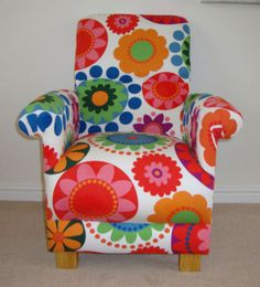 Ikea Frederika Fabric Child s Chair Funky Retro Bedroom Nursery New Flowers Red Nursery Armchair, Nursery Furniture, Ikea Fabric, Chair Fabric, Retro Armchair, Retro Bedrooms, Flower Nursery, Retro Fabric, Vintage Nursery