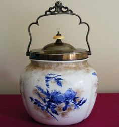 ANTIQUE DOULTON, BURSLEM BISCUIT BARREL, EPNS HANDLE & COVER, PATTERN DATE 1896